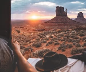 travel, sunset, and adventure image