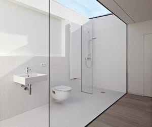 bathroom, modern, and white image