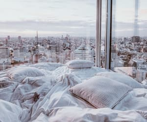 bed, city, and fashion image