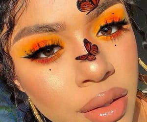 butterfly, makeup, and yellow image