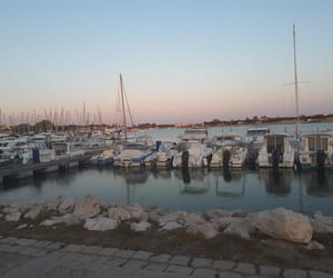 port, bateaux, and couché de soleil image