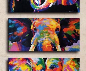 colourful, elephants, and in love image