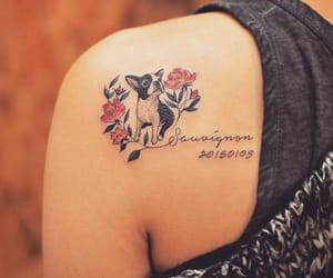dog, flowers, and tattoo image