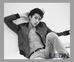 abs, exo, and black and white image