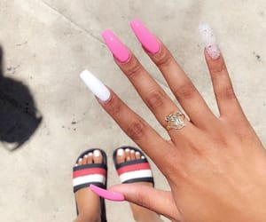 acrylic, nails, and pink nails image