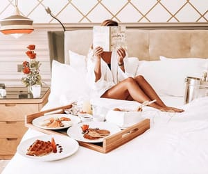 bed, bedroom, and breakfast image