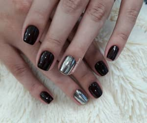 black, silver, and braziliannails image