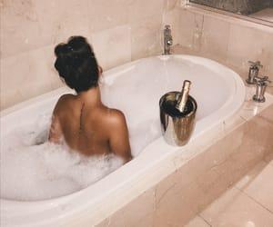 bath tube, bubbles, and girl image