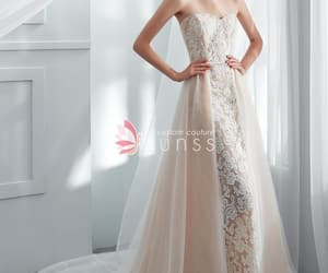 champagne, wedding gown, and custommade image