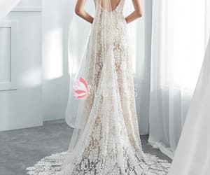 bohemian, champagne, and wedding dress image