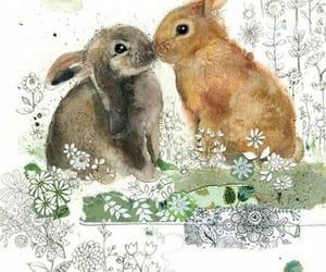 conejos, flores, and pareja image