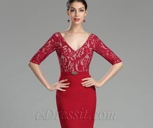 evening dress, red dress, and formal dress image