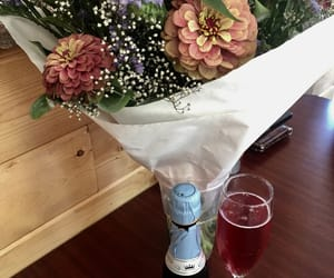 alcohol, champagne, and flowers image