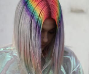 blonde, rainbow, and trippy image