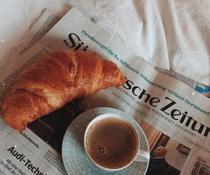 bed, coffee, and croissant image