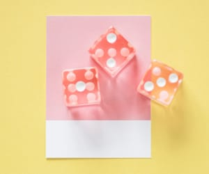 card, dice, and pink image