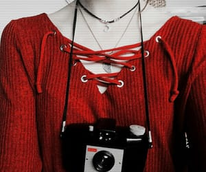 camera, photography, and red image