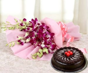 cake, flowers, and combo image