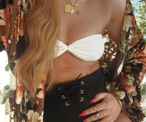 bikini, outfit, and red nails image