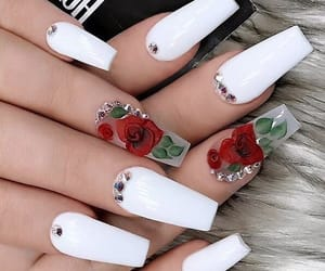 nails, roses, and rose image