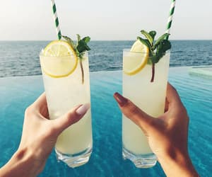 beach, lemon, and lemonade image