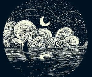 art, moon, and black and white image