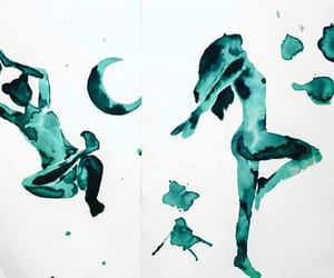 girl, handstand, and painting image