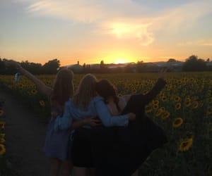 field, girls, and happiness image