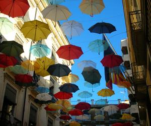 umbrella, colorful, and sky image