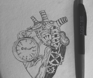arts, black&white, and heart image