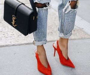 bag, denim, and ripped jeans image