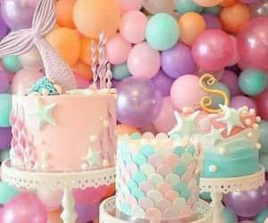 balloons, cake, and mermaid image