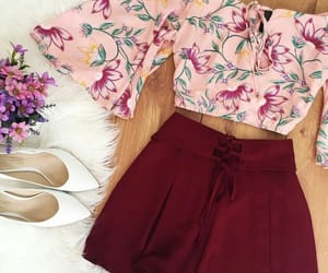 burgundy, fashion, and floral image