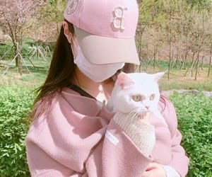 cat, pink, and girl image