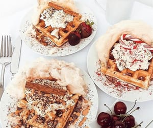 food, sweet, and waffles image