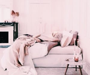 bed, pink, and rose image