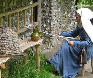 bench, medieval, and headdress image