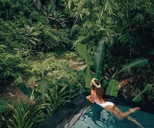 dark, nature, and swimming pool image