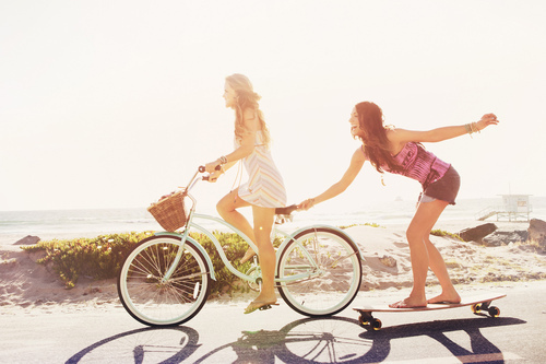 bicycle, hair, and blond image