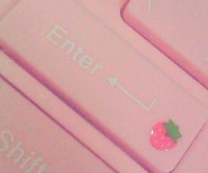 pink, pastel, and keyboard image