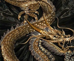 dragon, theme, and gold image