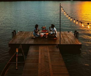 couple, lake, and lights image