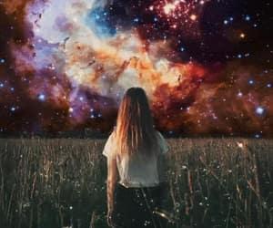 girl, stars, and sunset image
