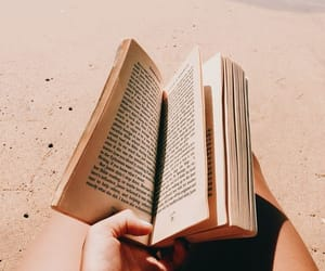 book, beach, and ocean image