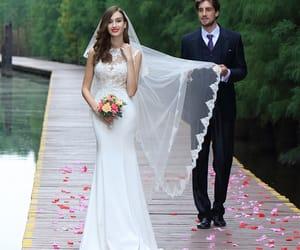 fashion, lace wedding gown, and elegant wedding dress image