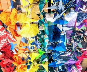 art, colourful, and cranes image
