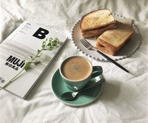 black coffee, book, and bread image
