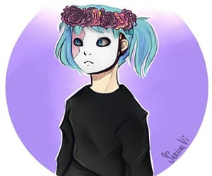 blue hair, diadem, and flowers image
