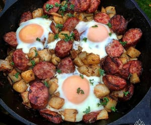 food, sausages, and scrambled eggs image