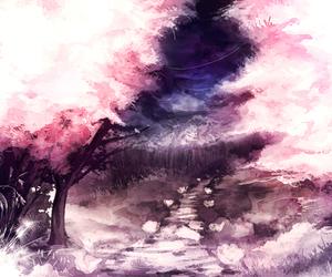 pink, tree, and anime image